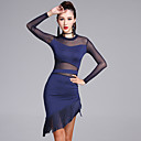 abordables Ropa para Baile Latino-Baile Latino Vestidos Mujer Rendimiento Fibra de Leche Borla Manga Larga Cintura Media Vestido / Pantalones cortos