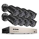 זול שעונים חכמים-zosi 8ch dvr 720p hdmi cctv מערכת מקליט וידאו 8pcs 1280tvl לילה ראיה לילה מצלמה מעקב ערכות