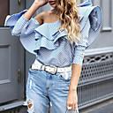 preiswerte Ohrringe-Damen Gestreift - Street Schick Baumwolle Hemd, Schulterfrei Lose Rüsche Schmetterling Ärmel / Frühling / Herbst