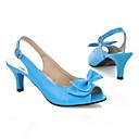 baratos Sandálias Femininas-Mulheres Couro Ecológico Primavera / Verão Chanel Sandálias Salto Agulha Peep Toe Laço Vermelho / Azul / Rosa claro / Festas & Noite / Festas & Noite