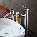 baratos Torneiras de Banheiro-torneira pia do banheiro - pullout spray cromado centerset único punho um furo torneiras de banho