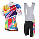 cheap Cycling Jersey & Shorts / Pants Sets-Miloto Men's Women's Short Sleeve Cycling Jersey with Bib Shorts White Black Rainbow Bike Bib Shorts Jersey Bib Tights Breathable 3D Pad Reflective Strips Back Pocket Sweat-wicking Sports Spandex
