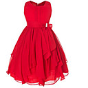 cheap Girls' Dresses-Kids Girls' Vintage Party Solid Colored Bow / Ruffle Sleeveless Dress / Cotton