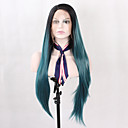 cheap Bed Pillows-Synthetic Lace Front Wig Straight Synthetic Hair Ombre Hair / Natural Hairline Blue Wig Women's Long Lace Front Blue