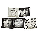 cheap Pillow Covers-5 pcs Linen / Natural / Organic Pillow Cover / Pillow Case, Solid Colored / Floral / Plaid Casual / Retro / Traditional / Classic