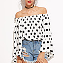 cheap Anklet-Women's Going out Street chic T-shirt - Polka Dot Backless Boat Neck / Spring / Fall