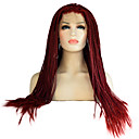cheap Costume Wigs-Synthetic Lace Front Wig Synthetic Hair Braided Wig / African Braids Red Wig Women's Long Lace Front Red