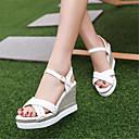cheap Women's Sandals-Women's Shoes PU(Polyurethane) Summer Mary Jane Sandals Wedge Heel White / Pink / Wedge Heels