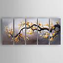 ieftine Picturi în Ulei-Pictat manual Floral/Botanic Orizontal,Modern Cinci Panouri Canava Hang-pictate pictură în ulei For Pagina de decorare