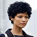 abordables Anillos-Pelucas sintéticas Mujer Rizado Negro Pelo sintético Negro Peluca Corta Sin Tapa Negro Azabache MAYSU