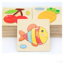 cheap 3D Puzzles-Educational Flash Card Jigsaw Puzzle Wooden Puzzle Fish Animals DIY Cartoon Boys' Girls' Toy Gift