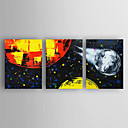 cheap Oil Paintings-Hand-Painted Abstract Horizontal, Modern Canvas Oil Painting Home Decoration Three Panels