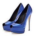 abordables Zapatillas de Hombre-Mujer Zapatos PU Primavera / Verano Confort / Innovador Tacones Paseo Tacón Stiletto Punta abierta Negro / Plata / Azul / Boda / Fiesta y Noche / Vestido / Fiesta y Noche