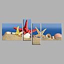 billige Abstrakte malerier-Hang malte oljemaleri Håndmalte - Still Life Moderne Inkluder indre ramme / Fire Paneler / Stretched Canvas