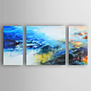 cheap Floral/Botanical Paintings-Oil Painting Hand Painted - Abstract Modern Stretched Canvas / Three Panels