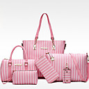 cheap Totes-Women's Bags PU(Polyurethane) Bag Set 6 Pieces Purse Set Stripe Black / Gray / Blushing Pink / Bag Sets