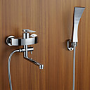 cheap Bathtub Faucets-Bathtub Faucet - Contemporary Art Deco / Retro Modern Chrome Tub And Shower Ceramic Valve