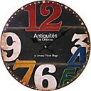 baratos Relógios de Parede Rústicos-Clássica Casual Tradicional Regional Retro Escritório/Negócio Madeira Redonda Interior,Bateria