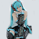 cheap Videogame Cosplay Wigs-Inspired by Vocaloid Hatsune Miku Video Game Cosplay Costumes Cosplay Suits / Dresses Patchwork / Anime Sleeveless Blouse Skirt Sleeves Costumes / Stockings / Satin