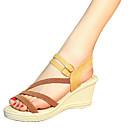 ieftine Sandale de Damă-Pentru femei Pantofi PU Vară Confortabili Sandale Toc Platformă pentru În aer liber Alb Negru Maro Închis