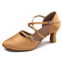 cheap Modern Shoes-Women's Latin Shoes Satin Sandal / Heel Buckle / Ribbon Tie / Criss-Cross Cuban Heel Customizable Dance Shoes Black / Brown / Performance