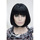 cheap Synthetic Capless Wigs-Synthetic Wig Straight Bob Haircut / With Bangs Synthetic Hair Middle Part Bob Wig Women's Short Capless Natural Black Hivision