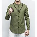 abordables Ligas para Novia-Hombre Casual / Tejido Oriental Lino Camisa, Cuello Mao Delgado Un Color