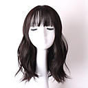 cheap Synthetic Capless Wigs-Synthetic Wig Women's Wavy Black With Bangs Synthetic Hair Black Wig Medium Length Capless Natural Black