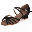 cheap Wedding Shoes-Latin Shoes Satin Sandal Buckle Chunky Heel Non Customizable Dance Shoes Black / Dark Brown / Professional