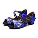 baratos Sapatos de Dança Latina-Mulheres Sapatos de Dança Latina Cetim Sandália / Têni Pedrarias / Cristais Salto Robusto Sapatos de Dança Fúcsia / Vermelho / Azul