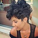 olcso Sapka nélküli-Emberi hajszelet nélküli parókák Emberi haj Göndör Pixie frizura Bretonnal DIY-uralkodó-Kényelmes Afro-amerikai paróka Oldalsó rész Fekete