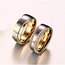 cheap Rings-Women's AAA Cubic Zirconia / Synthetic Diamond Couple Rings - Zircon, Titanium Steel, Gold Plated Love Bridal 5 / 6 / 7 Golden For Wedding / Anniversary / Birthday