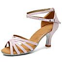 baratos Sapatos de Dança Latina-Mulheres Sapatos de Dança Latina Courino Salto Salto Personalizado Personalizável Sapatos de Dança Preto e Dourado / Preto e Prateado /