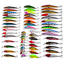 cheap Fishing Lures & Flies-56 pcs Minnow Fishing Lures Lure Packs Minnow Hard Bait Plastic Bait Casting