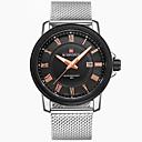 baratos Relógio Esportivo-NAVIFORCE Homens Relógio Esportivo / Relógio de Pulso Calendário / Legal Aço Inoxidável Banda Luxo / Casual / Fashion Prata