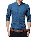 cheap Men's Boots-Men's Work Cotton Shirt - Patchwork / Jacquard / Long Sleeve