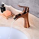 رخيصةأون حنفيات مغاسل الحمام-بالوعة الحمام الحنفية - شطف مسبق / شلال / واسع الانتشار ذهبي وردي في وسط التعامل مع واحد ثقب واحدBath Taps