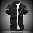 billige Tilbehør til herrer-Bomull Tynn Klassisk krage Skjorte Herre - Fargeblokk