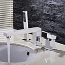 cheap Earrings-Bathroom Sink Faucet - Handshower Included Chrome Deck Mounted Single Handle Three Holes / Brass