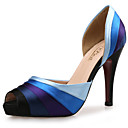 cheap Clutches & Evening Bags-Women's Shoes Synthetic / Silk / Fabric Summer / Fall Club Shoes Sandals Stiletto Heel Peep Toe Blue / Wedding / Dress