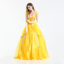 cheap Movie & TV Theme Costumes-Princess Fairytale Queen Belle Cosplay Costume Movie Cosplay Yellow Dress Gloves Halloween Carnival New Year Terylene