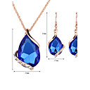 cheap Earrings-Women's Crystal Jewelry Set - Rose Gold, Crystal, Rhinestone Drop Fashion Include Drop Earrings Pendant Necklace Necklace / Earrings Red / Green / Blue For Wedding Party Daily