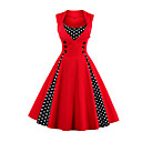 cheap Bag Sets-Women's Plus Size Going out Vintage A Line Dress - Polka Dot Red, Print