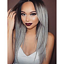 cheap Synthetic Lace Wigs-Synthetic Lace Front Wig Straight Synthetic Hair Ombre Hair / Dark Roots / Natural Hairline Gray Wig Women's Long Lace Front Wig