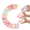 cheap Nail Stickers-24 sheets nail sticker flower water decals transfer foil rose peony sakura floral design nail wrap for valentine s day nails art random style