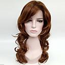 billige Øredobber-Syntetiske parykker Dame Bølget Brun Syntetisk hår Brun Parykk Medium Lengde Lokkløs Medium gylden brun