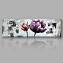 baratos Impressões em Tela Esticada-Pintura a Óleo Pintados à mão - Floral / Botânico Flor / Arte Deco / Retro / Moderno / Contemporâneo Tela de pintura / Lona Laminada