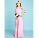 billige Hodeplagg til fest-A-linje Grime Gulvlang Chiffon Junior brudepikekjole med Belte / bånd av LAN TING BRIDE® / Naturlig