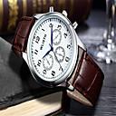 hesapli Elbise Saat-Erkek Moda Saat Bilek Saati Quartz Deri Kahverengi Analog Günlük - Beyaz Siyah
