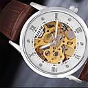 رخيصةأون ساعات موضة-للرجال ساعة المعصم كوارتز عرض ساخن جلد فرقة مماثل كاجوال موضة أسود / بني - أبيض أسود